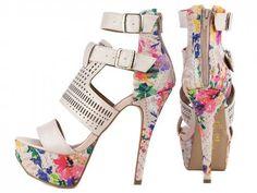 533c7ab98 ShoeGirls Sapato · Sandálias · sandália meia pata feminina bege floral  torricella.