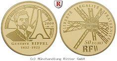 RITTER Frankreich, 50 Euro 2009, Gustave Eiffel, Gold, PP #coins #numismatics