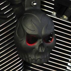 Textured Black Powder Coat Evil Twin Skull Horn Cover with LED Eyes (Purple) Harley Davidson Parts, Harley Davidson Street Glide, Harley Davidson Sportster, Cheap Motorcycles, Street Glide Special, West Coast Choppers, V Rod, Evil Twin, Black Gold Jewelry