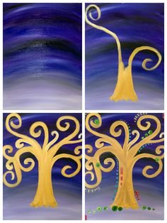 "Evolution of ""Klimt's Tree of Life"" painted @ Painting with a Twist Ft. Lauderdale."
