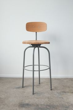 The Barbican Oak and Steel Bar Stool by hedgehouse on Etsy, $250.00