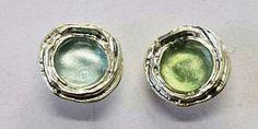Roman glass jewelry stud round earrings Israeli silver  jewelry