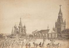 """Андре Дюран (1807–1867). """"Вид Красной площади."""" 1839 г."""