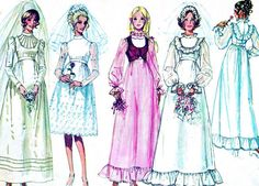 1970s Wedding Dress Pattern Simplicity 9608 Empire by paneenjerez, $12.00