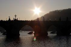 Prague, Charles Bridge at sunset