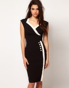 Black White Celebrity V Neck Hemline Designer Pencil Dress