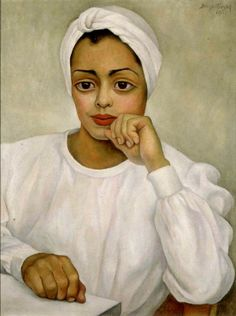 Diego Rivera, Doctora mexicana (Retrato de Irma Mendoza), 1950, oil on canvas -- portrait of a real life surgeon (note the enlarged hands) by Diego Rivera