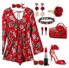 """Rose Romper"" by deborah-calton ❤ liked on Polyvore featuring Chicnova Fashion, Vince Camuto, Oscar de la Renta, MAC Cosmetics, whatsin and roper"