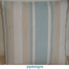 NEW 16 Blue Cream Beige Cushion Cover ★ Laura Ashley Awning Stripe Duck Egg | eBay £9.99