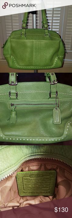 REDUCED! 👛Spring Green Coach Handbag Satchel I know it's a little early to dream of spring but that's what I think when I see this bag! Gorgeous, soft Pebbled Leather with white stitching and circle details. 1 main interior compartment with zipper pocket and 2 small pockets. 3 exterior pockets. In great condition. A bit of wear to the corners, see pic 4. Inside just cleaned and spotless! Adjustable straps, drop 6 to 7in. Coach Bags