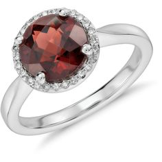 Blue Nile Garnet and Diamond Petite Round Halo Ring (1,100 CAD) ❤ liked on Polyvore featuring jewelry, rings, accessories, halo diamond ring, 14 karat gold ring, garnet jewelry, blue nile rings and 14k ring