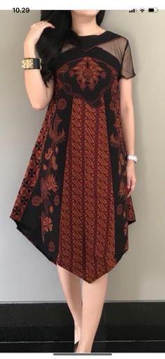 Batik Source by dress Batik Kebaya, Kebaya Dress, Dress Pesta, Long Dress Fashion, Fashion Dresses, Blouse Batik Modern, Dress Brokat Modern, Kebaya Modern Dress, Trendy Dresses