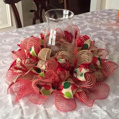 Christmas deco mesh and ribbon centerpiece by AllThatGlitters142