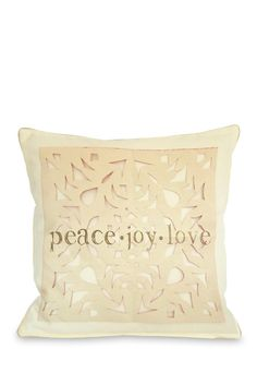 Peace Joy Love Paper Snowflake Zippered Pillow - Ivory