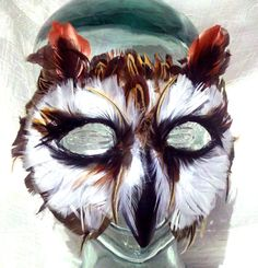 Feather Striped Owl Mask by FemaleArtCollective on Etsy, $54.00