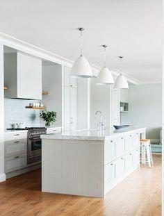 Neutral, open plan kitchen