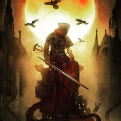 Which is better Dark Souls or Bloodborne?  The Killing Moon / Bloodborne official By Bastien Lecouffe Deharme  #DarkSouls #Bloodborne #Gaming #Xbox #PC #PS4 #Nintendo #GameArt #ConceptArt #Art #FanArt #Illustration #Fantasy #Character