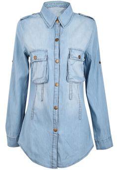 Blusa denim lavado solapa manga larga-Azul EUR€17.94