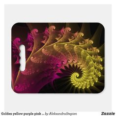 seat cushion created by AleksandraStepien. Stadium Seat Cushions, Stadium Seats, Logo For School, Geometric Flower, Golden Yellow, Fractals, Light In The Dark, Purple, Pink