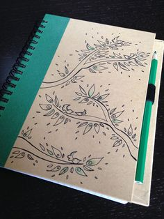Recycled green notebook with original drawing and by Mammabook