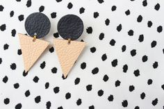 Leather Geometric Earrings Triangle Earrings Upcycled