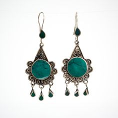 Afghani Tribal Earrings Green and Blue Style 3 by Yapoma on Etsy