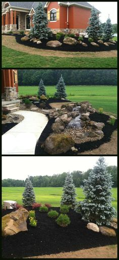 Design a landscape that has everything to make your yard stand out! This design features a front walk water feature, evergreen landscaping to bring color all year, and chunky rock boulders.