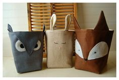 Owl, ?? and fox bags - photo only
