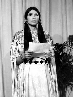 Sacheen Littlefeather speaking in the name of Marlon Brando during the 45th Oscars Ceremony, 1973,  in protest of the treatment of Native Americans by the film industry.