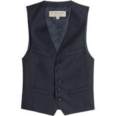 Burberry Brit Wool Vest ($299) ❤ liked on Polyvore featuring men's fashion, men's clothing, men's outerwear, men's vests, blue, mens vest, burberry mens vest, mens slim vest, mens vest outerwear and mens slim fit vest