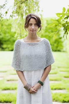 Wedding shawl knitting patterns: Shoulder Cozy by Churchmouse Yarns & Teas, download on LoveKnitting