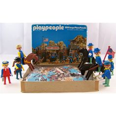 Brilliant rare Playpeople / Playmobil Fort Union Cavalry jigsaw, 224 pieces complete in very good condition 18.5 x 13  / 47cm x 33cm and we also have some of the figures from the picture. The box states that the figures shown in the picture are Geobra 1974