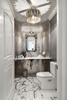Gorgeous powder room, love the mirrored tile. Wonder if that would be a good idea in our powder room, especially with the black sucking up all the light. Dream Bathrooms, Beautiful Bathrooms, Glamorous Bathroom, Small Bathrooms, Luxury Bathrooms, Master Bathrooms, White Bathrooms, Luxury Kitchens, Silver Bathroom