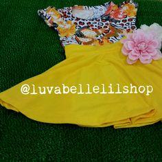Yellow Flower Stripy Leopard Skater Skirt Set