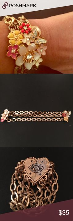Juicy couture bracelet Women's metallic chunky multi chain bracelet with Juicys signature flowers/butterfly/pearl/diamond pendant. Front magnet closure with lock on side. Juicy Couture Jewelry Bracelets