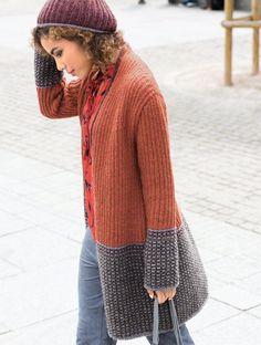 Двухцветное пальто - схема вязания спицами. Вяжем Пальто на Verena.ru