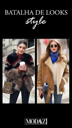 Jaquetas são indispensáveis no inverno para nos deixar quentinhas! E com muito estilo, claro! #modaazoficial #jaquetas winter #batalhadelook #outfit #style #aviador #fluffy Looks Style, Fur Coat, Coats, Photo And Video, Instagram, Fashion, Down Jackets, Battle, Winter Time