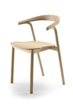 Contemporary chair / stackable / oak / solid wood MAKIL  Alki
