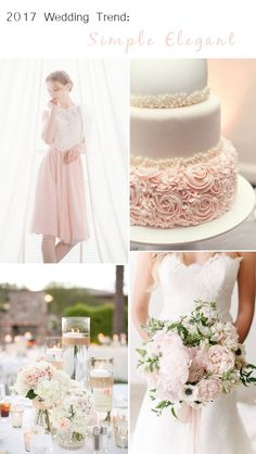 elegant blush and white wedding ideas with bridesmaid dresses 2017