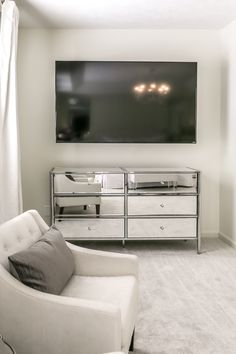 Interior Design for Real Life Glam Master Bedroom, Dresser With Mirror, All White, Flat Screen, House, Blood Plasma, Home, Flatscreen, Haus