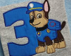 Paw Patrol Birthday Shirt / Chase / Birthday shirt by SWDdesigns