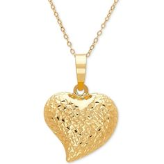 "Textured Puff 17"" Heart Pendant Necklace in 10k Gold (565 PEN) ❤ liked on Polyvore featuring jewelry, necklaces, yellow gold, heart shaped necklace, gold pendant necklace, yellow gold necklace, heart shaped pendant necklace and gold jewelry"