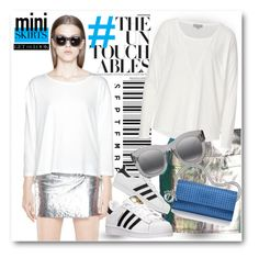 """""""#Mini Skirt - #Silver"""" by nikkisg ❤ liked on Polyvore featuring Marc by Marc Jacobs, adidas, Christian Dior, Illesteva and MINISKIRT"""