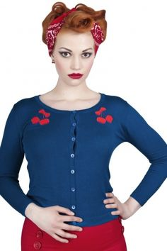 Collectif Clothing - 50s Jo cardigan Blue Cherry #‎topvintage‬