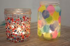 DIY : recycler un pot de confiture en photophore à pois: