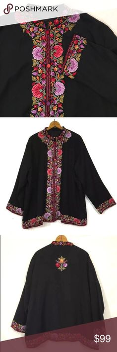 Kashmir boutique smithsonian institute embroidered Kashmir Exclusive Wool Embroidered India Smithsonian Institute Jacket Large  T138  Lightweight wool: transitional or a great layering piece. fully lined  Gorgeous multicolor hand embroidery with embroidered buttons at front, BIYA styling. slightly open- will require undergarments and cannot be worn alone.   Excellent condition! Tag size large, but runs quite large. Please compare measurements to a garment which fits well.Shoulder 20.5 bust…