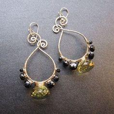 "Gemstone Earrings Hammered Shapes Wrapped With Gemstones1-1/4"" Handmade USA #CalicoJuno #Hoop"