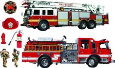 Amazon.com: Firetrucks and firefighters Giant stickers - removable and repositionable Wall Decals Wall Art For Any Kids room: Automotive