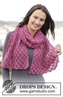 """Crochet DROPS stole with fan pattern in """"Baby Merino"""". ~ DROPS Design"""