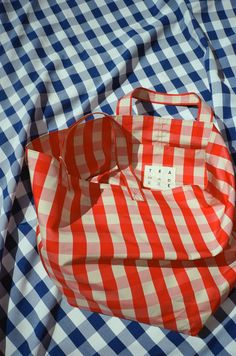 TRADEMARK | Large Gingham Grocery Tote - Red & Cream — Lisa Says Gah